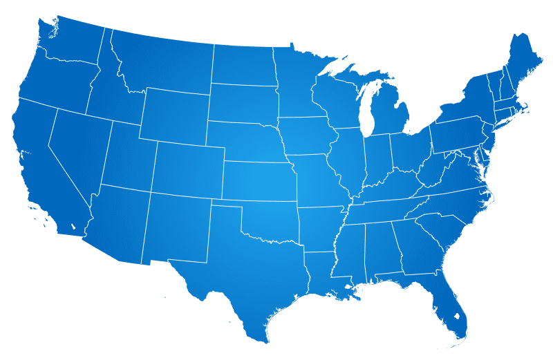 United States of America colored in Blue