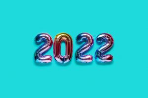 Balloons that spell out 2022